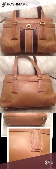 COACH Hampton Leather Satchel COACH#J0793-11609. In good shape. Faint stain in back shown in pic. Clean liner. Good straps. Measures 9x13 Coach Bags Satchels