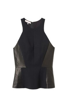 Halter Neck Top with Leather Detail by Rebecca Taylor, $350
