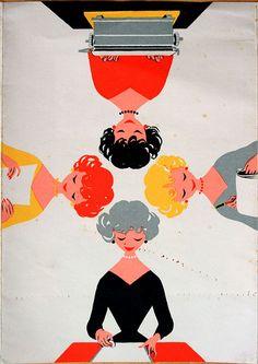 vintage illustration: secretaries