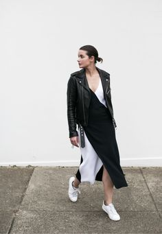 These minimalist bloggers show us five ways to style a leather jacket. Create a monochrome look by layering a biker jacket over a black and white midi dress and accessorising with white sneakers....