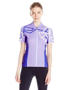 GORE BIKE WEAR Women's Element Adrenaline Jersey, Violet/White, Large. Stylish, striking, lightweight short sleeve cycling jersey for recreational use on or off-road. Highly functional, full length zip with semi-lock slider for optimum ventilation. Slim fit; back zip pocket + 3 compartment patch pocket, full front zip, partially elastic gripper on hem, ergonomic collar. Safety conscious reflective piping and reflective logo on back. Easy care, machine washable. Contents: 1 women's short...