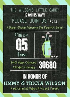 Golf Baby Shower or Birthday Invitation - Digital File