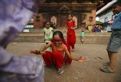 Nepalese children are pictured as they play at Bashantapur Durbar Square in Kathmandu, September 12, 2012.  [Credit: Navesh Chitrakar/Reuters]