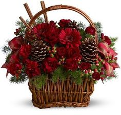 Sugar & Spice Holiday Basket - Griffins Floral Deisgn - Columbus Christmas Flowers - Columbus Holiday Flowers - Columbus Poinsettia Plants - Columbus Christmas Centerpieces - Columbus Florist - Same Day Flower Delivery Columbus Ohio Christmas Flower Arrangements, Christmas Flowers, Christmas Centerpieces, Floral Arrangements, Christmas Wreaths, Christmas Crafts, Christmas Decorations, Holiday Decor, Christmas Wedding