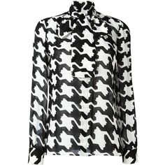Dsquared2 Geometric Print Pussybow Blouse (£720) ❤ liked on Polyvore featuring tops, blouses, black, geometric print blouse, geometric blouse, long sleeve silk top, pussy bow blouse and long sleeve blouse