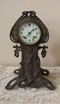 "Gorgeous Antique 1904 Ansonia Ophelia ART NOUVEAU 16"" Shelf Clock ~ All Original"