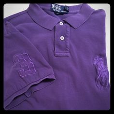 MENS POLO SHIRT MENS BIG HORSE POLO , UNIQUE PURPLE COLOR, Enlarged horse, 3 on sleeve, Custom Fit . Great condition Ralph Lauren Tops