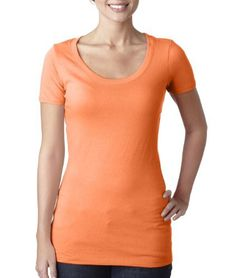 3530 Next Level The Scoop Tee (Neon Heather Orange (60/40)) (M