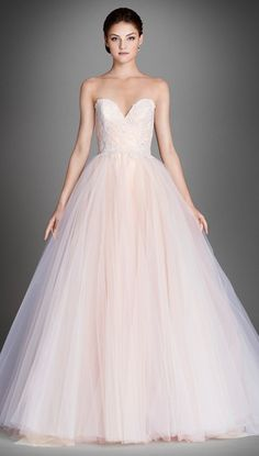 pink ballgown wedding dress from Lazaro