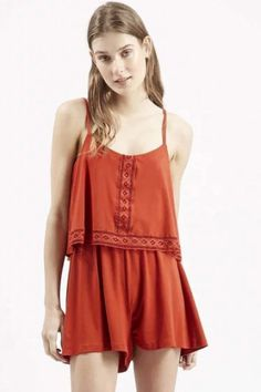LUCLUC Red Lace-Merging Playsuit