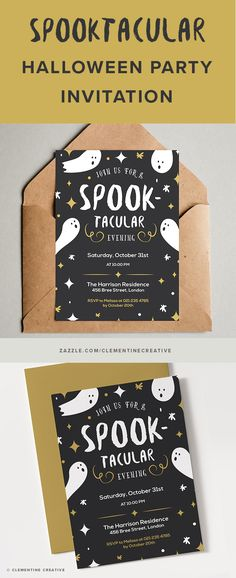 "Throw an amazing Halloween party and impress your guests with this ""spooktacular"" Halloween party invitation featuring cute ghost illustrations and stars. Just add your own text online easily."