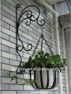 flower pot holder on sale at reasonable prices, buy Rustic iron flower stand balcony wall hanging basket diaolan flower flower pot holder from mobile site on Aliexpress Now! French Flowers, Metal Flowers, Diy Flowers, Hanging Storage Shelves, Metal Plant Hangers, Wrought Iron Decor, Iron Plant, Flower Stands, Metal Tree