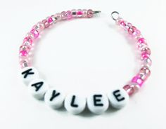Childs or Teens Alphabet Name Bracelet made with Pinks, light to medium mixes, and Lavender mix Beads- Custom made to Order for any age