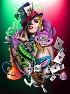 Just have alice and the mad hatter hat with the cards and the rabbit possibly the cat. Alice in Wonderland Dark Alice In Wonderland, Alice In Wonderland Drawings, Adventures In Wonderland, Lewis Carroll, Dark Disney, Disney Art, Dark Fantasy, Fantasy Art, Gato Alice