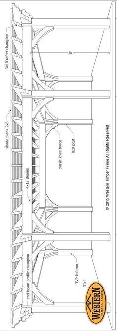 Plan for a 16′ x 32′ Over Size Timber Frame DIY Pergola More #pergolakitsdiy #pergolaplansdiy