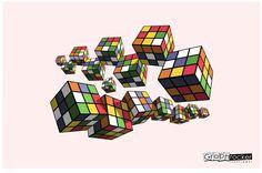 Ilustración geométrica rubicks  #Rubick #Color #Geometry #Farben