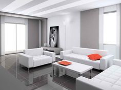 A good example of an accented-neutral room. The orange accents the all white and furniture and grey floors.