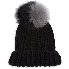 Eugenia Kim Pom Pom Faux Fur Wool Beanie ($285) ❤ liked on Polyvore featuring accessories, hats, black, cable knit pom pom beanie, beanie caps, foldable hat, beanie hat and pom pom hat