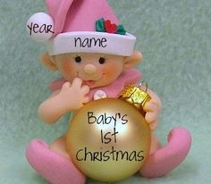 Babys First Christmas Ornament,  Personalized Baby's 1st Christmas Elf, Gnome, Fairy in Blue, Pink or Lavender on Etsy, $25.00