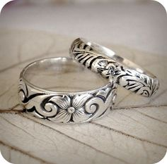 Pair of Sterling Silver Renaissance Wedding Rings - Custom Size