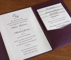 classicmonogram letterpress - monogram invitation with various enclosure cards in a pocket folder