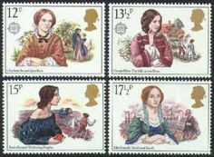 12p - Charlotte Brontë (Jane Eyre)    13½p - George Eliot (The Mill on the Floss)    15p - Emily Brontë (Wuthering Heights)    17½p - Mrs. Gaskell (North and South)