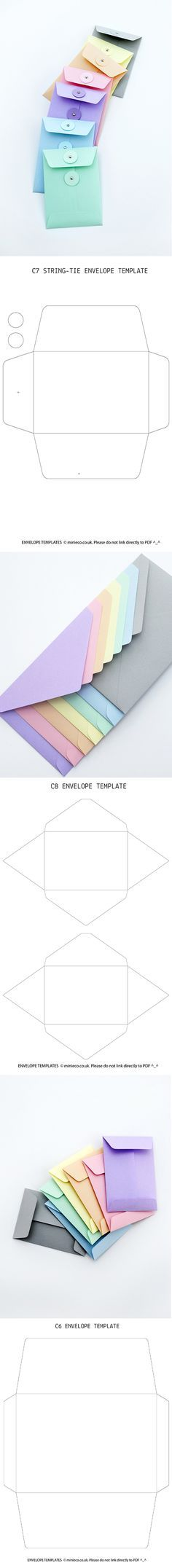 """Free Envelope Templates (C6, C7, C8) String-tie & standard designs I think the string tie ones would be adorable if we printed something like """"Thanks for being a part of our big day"""" and kept tips inside for each of the vendors."""