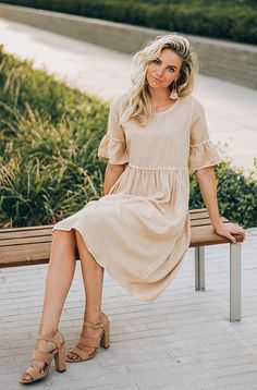 d681b40dc49f MARYLOU - Mineral Washed Dress in Taupe - RESTOCKED