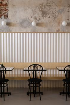 DIZENGOF99 Cafe Moscow by Crosby Studios & Valya Zaytseva | Yellowtrace. Corrugated iron, distressed concrete, banquette