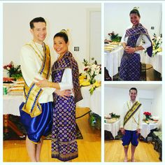 The hubby and I in a traditional Lao Ceremony  outfit. Men's ceremonial outfit by www.laoshouse.com thank you, it looks amazing on Ben!