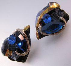 $10.00 Vintage Blue Rhinestone & Ceramic Clip On Earrings Gold Hand Made Costume Jewelry Jewellery by BrightEyesTreasures on Etsy