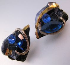 $10.00 Vintage Blue Rhinestone & Ceramic Clip On Earrings Gold Hand Made Costume Jewelry Jewellery by BrightEyesTreasures on Etsy