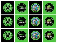 INSTANT DOWNLOAD - Printable Minecraft  - Cupcake Toppers - Tags