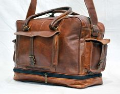 Men s duffel genuine Leather large vintage travel gym weekend overnight bag 349dba4438dfc