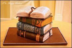 Stack of books groom's cake for literary themed wedding  German chocolate  www.shophappybaker.com