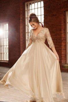Vestido de boda Vintage Manga Larga madre de novia vestido nuevo noche formal Imperio