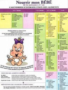 Calendrier introduction des aliments solides - Calendrier