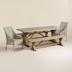 """WorldMarket.com: San Remo Outdoor Dining Collection $850 without end chairs.Crafted of acacia wood with gray sandblasted and washed finish on top and natural oil finish on base. 83.8""""L x 36""""W x 30""""H, 48 lbs."""