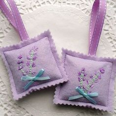 Hand Embroidered Lilac Felt Lavender Bag - these would be cute party favors for a wedding or tea.