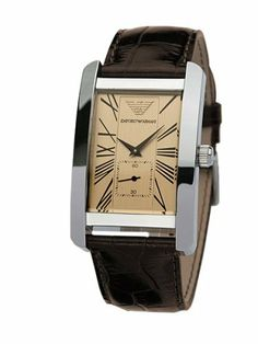 Emporio Armani Men's AR0154 Classic Brown Leather Beige Roman Numeral Dial Watch Armani. $164.00. Brown leather strap; Crocodile print. Quality Quartz movement; Scratch-resistant mineral crystal. Stainless steel case. Water-resistant to 165 feet (50 M). Beige-tone dial; Black Roman numeral markers; Date window; Second sweep subdial. Save 16%!