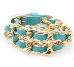 """One strand of links and colored leather that wraps around twice with a buckle closure. Pick colors of Pink, Lime, Chrome, and Turquoise. Length: 18"""" + Width: 1/"""
