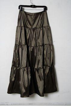 Tadashi Dark Gray Shimmer Tiered Circle Skirt Size 6 #TadashiShoji #FullSkirt