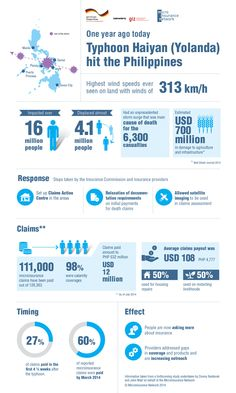 This infographic, based on figures from a forthcoming study commissioned by the Microinsurance Network, outlines how microinsurance helped low-income people from the Philippines restat their lives after typhoon Haiyan