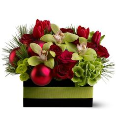 christmas floral arrangements - cymb orchid, hydrangea, roses,