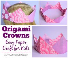 Origami Crowns- Easy Paper Craft For Kids Origami Crown- Easy Paper Craft For Kids. Simple Japanese paper folding, suitable for kindergartners or early elementary. Great for fine motor development! Paper Crafts For Kids, Craft Activities For Kids, Preschool Crafts, Fun Crafts, Easter Crafts, Paper Crafting, Craft Ideas, Kids Origami, Origami Easy