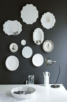 Charcoal with white plates