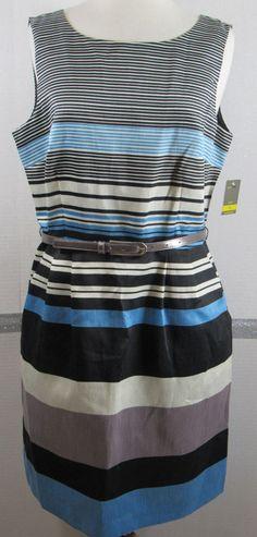 Sheath Dress 14 Striped Taylor Polyester Thin Belt Sleeveless Shimmer Slimming #Taylor #Sheath #Clubwear