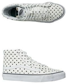 timeless design 8fea4 d5718 VANS LEATHER POLKA DOTS SK8-HI SLIM SHOE White Leather Shoes, White Shoes,