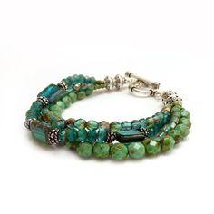 Blue Bohemian Bracelet - Turquoise Teal Blue Multi-Strand Bracelet - Picasso Glass, Seed Beads - Boho Jewelry