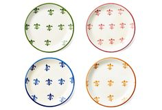 One Kings Lane - All Things French - Asst of 4 Fleur-de-Lis Canapé Plates